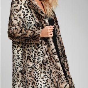 BB Dakota Leopard Faux Fur Coat